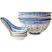 Chinese  Dragon Rice Grain Porcelain Bowls Spoons