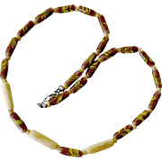 Necklace Handmade Glass and Bone Beads