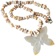 Shell Necklace Translucent Mother of Pearl Butterfly