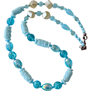 Necklace with Varied Glass Beads Pretty Blue