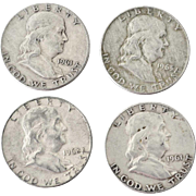 Four Franklin Silver Half Dollars1961P 1963D1962P