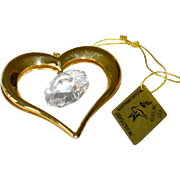 Heart Ornament Austrian Crystal 22K Gold Plate