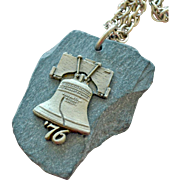 Necklace Philadelphia Liberty Bell on Natural Stone