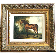 Ornate Wood Frame Horse Print on Canvas