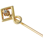Stick Pin with Raised Diamond 14k Gold