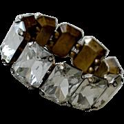 Huge One Inch Emerald Cut Faceted Rhinestone Bracelet