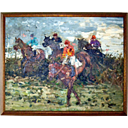 Steeplechase Horse Racing Auteuil Oil Painting