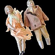 Pair Dollhouse Miniature Bisque Dolls As Found
