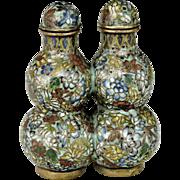 Snuff Bottle Cloisonne Twin Double Gourd