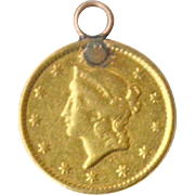 Liberty 22K 1849 Gold Coin Pendant Charm