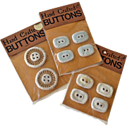 Large Handmade Ceramic Buttons Three Cards