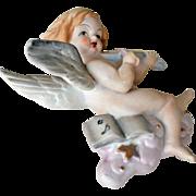 Bisque Porcelain Cherub Angel Wall Hanging