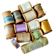 Sewing Thread Mostly Silk Some Cotton Wood Spools