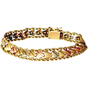 Heart Bracelet 14k Tricolor Gold White Pink Yellow