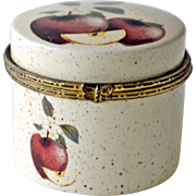 Porcelain Trinket Box with an Apple