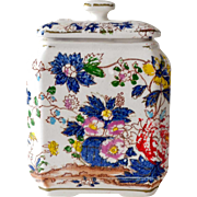 Porcelain Covered Jar Hand Painted Old