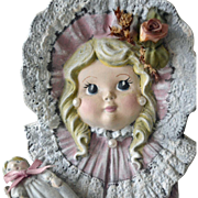 Ceramic Figurine Little Girl Holding Doll