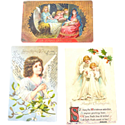 Three Christmas Postcards  German Nativity Scene Two Undivided Back Post Card