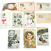Ten Christmas Postcards Some With Children Dogs Dutch Kids