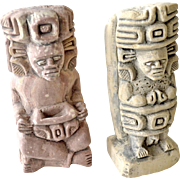 Pair Clay Ethnic Figurines Mexico Aztec Style