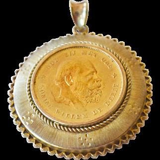 Pendant Gold Coin Netherlands 1876 10 Gulden