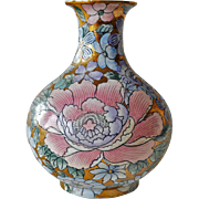 Vase Vintage Oriental Enamel on Gold Gilt
