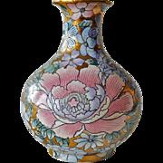 Vase Vintage Oriental Enamel on Gold Gilt