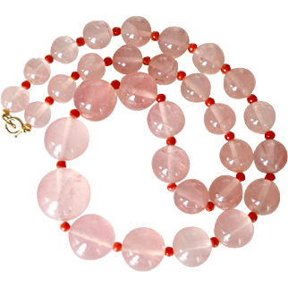 Necklace Cartier Large Rose Quartz and Coral Beads