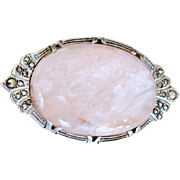 Brooch Rose Quartz Sterling Marcasite Pin