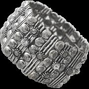 Wide Cuff Bracelet  Silver Tone with Rhinestones