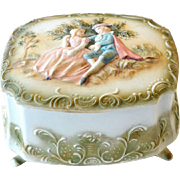Bisque Porcelain Trinket Vanity Box