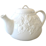 White Porcelain Teapot with Raised Ivy Leaves and Berries