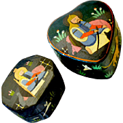Set of Papier Mache Boxes Hand Painted Jungle Animals