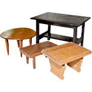 Four Wood Dollhouse Tables As Is
