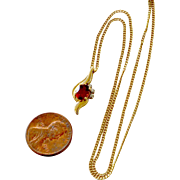 Garnet and Diamond 14K Yellow Gold Pendant and Chain Necklace