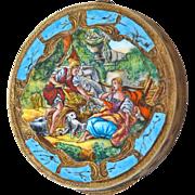 Enamel Compact Signed Coppini Pastoral Scene 800 Silver Italy