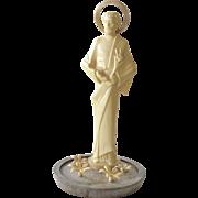 Vintage Religious Figurine Jesus with Flowers Italy