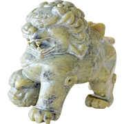 Stone Chinese Lion or Foo Dog Carving