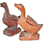 Miniature Geese Carved Wood