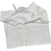 Vintage Heavy Cloth Lingerie Bag with Lace Insert