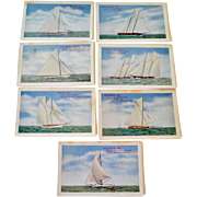 Seven Americas Cup Racing Yachts Postcards with Advertising