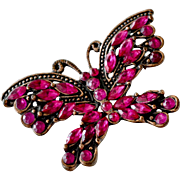 Butterfly Pin Very Intense Dark Ruby Crystal Rhinestones