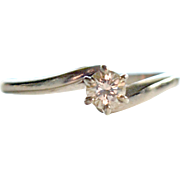 White 14K Gold and Diamond Promise Ring