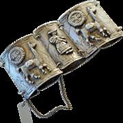 Bracelet Wide Curved Panels Raised Figures  Peru 900 Silver