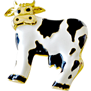 Large Pin Brooch Enamel Cow