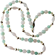 Necklace Jade Rose and Clear Quartz Mother of Pearl 30 Inches