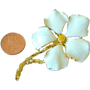 White Enamel Flower Pin Brooch