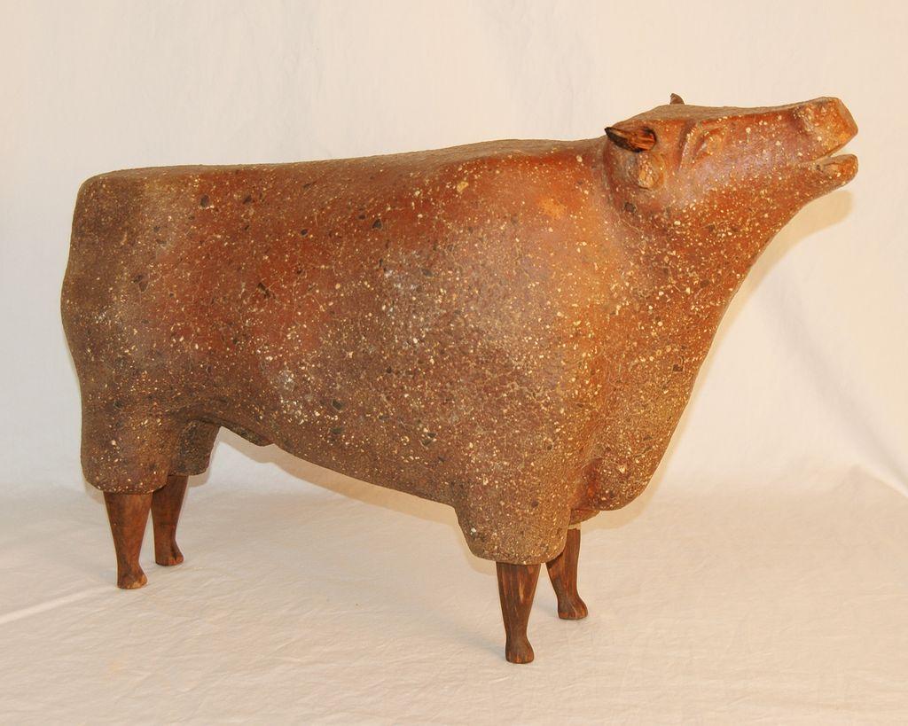 Unique and Rare Antique Sewer Tile Bull