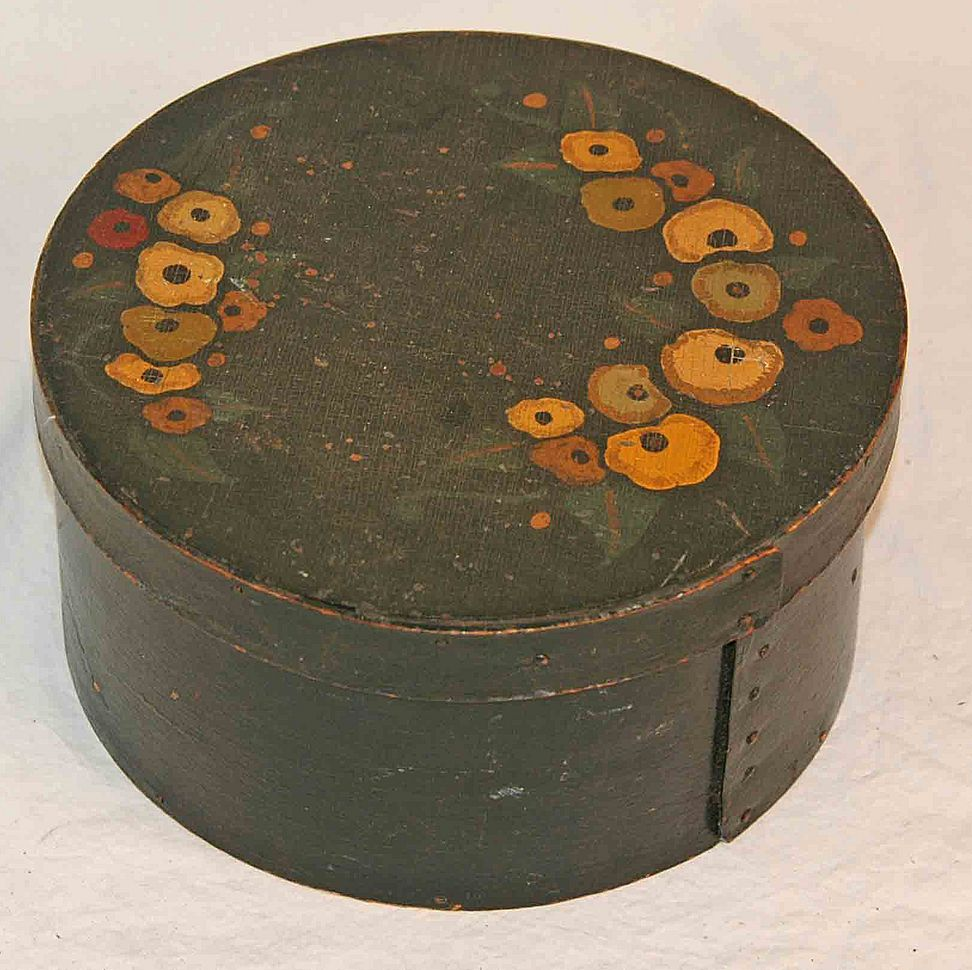 Antique Pantry Box in Green Paint with Painted Floral Decoration