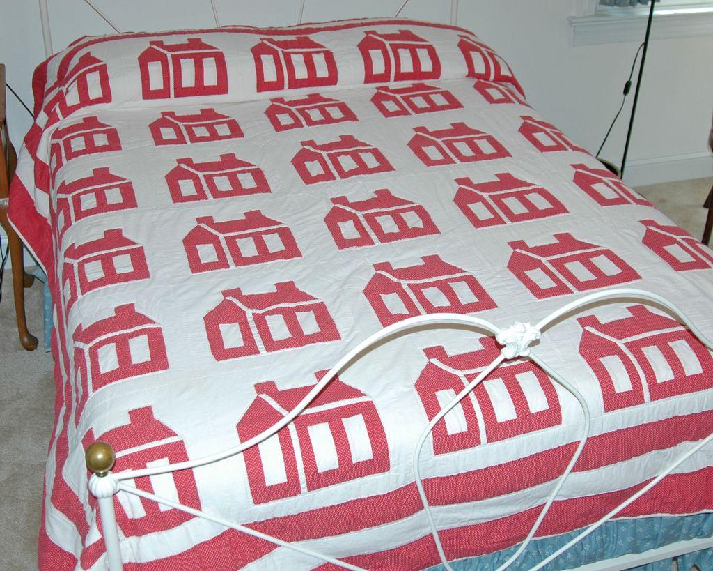 Hand Appliqued Schoolhouse Quilt